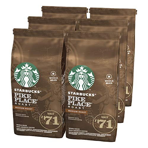 Starbucks Pike Place Roast Medium Roast Whole Bean Coffee, 6er Pack (6 x 200 g)