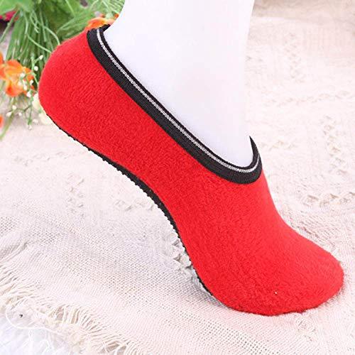 Warme Socken,Slipper Socken,Winter Angenehm Weiches Velvet Indoor Stock Socken Kurz Anti-Skid Boot Socken Farbe Warm Frauen Hausschuhe Socken Blau(3pcs)