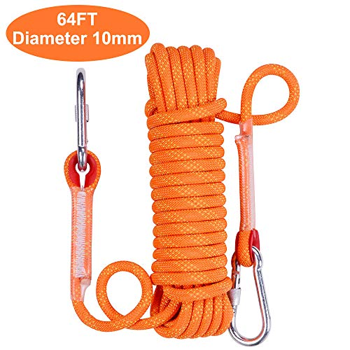 Outdoor Climbing Rope 15M49ft 10mm Diameter Static Climbing RopeClimbing Rappelling Rope Outdoor Hiking Magnet Fishing Fire Escape Rope
