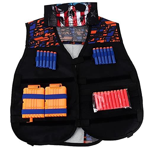 Jazar Chaleco para Exteriores, Chaleco para niños, Cartuchos Negros para Actividades al Aire Libre para Juegos(Double Shoulder Pattern Vest)