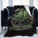 Fleece Blankets-Best Buds Stick Together Pot Leaf Weed Blanket,All-Season Throw Blanket Comfortable & Soft for Couch Bed Travel