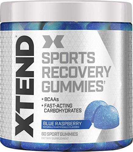 XTEND Sports Recovery Gummies with 3.5g Branched Chain Amino Acids, BCAAs + Fast-Acting Carbohydrates, Blue Raspberry, 60 Gummies