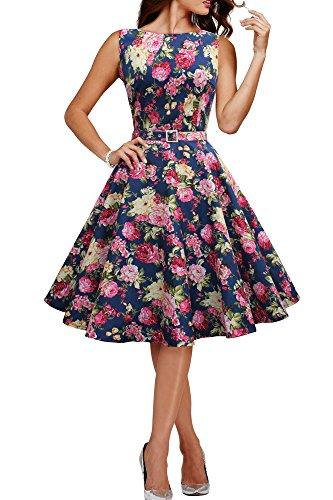 BlackButterfly 'Audrey' Vintage Divinity Kleid im 50er-Jahre-Stil (Nachtblau, EUR 48-3XL)