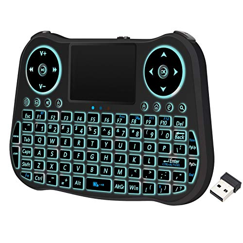 Backlit Mini Wireless Keyboard with Touchpad Mouse Combo and QWERTY Keypad - Rechargeable Handheld Keyboard Remote Control for Smart TV, Android TV Box, HTPC PS3, PC