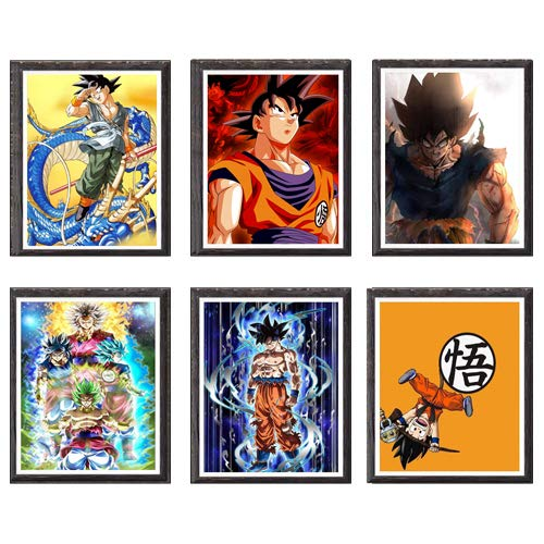Ultra Instinct Dragon Ball SSJ Vegeta Son Goku - Lienzo decorativo para pared (8 x 10 pulgadas, sin marco, juego de 6 unidades)