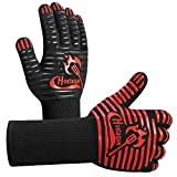 Grilling Gloves 1472℉ Extreme Heat Resistant, Grill BBQ Gloves for Men, Silicone Non-Slip Kitchen Oven Mitts, Hot Cooking Oven Gloves for Grilling, Frying, Baking, Welding, Fireplace, 14 Inch
