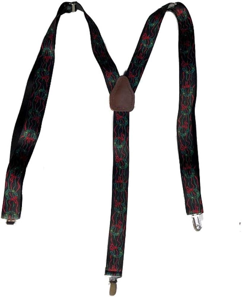 Men's Christmas Wreath Design Suspenders - 1-1/4