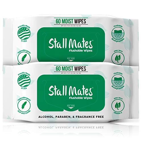 Stall Mates 60-Wipe Home Pack: Flushable and Hypoallergenic Moist Wipes Made in The USA. Unscented with Vitamin-E & Aloe, 100% Biodegradable (2 Pack)