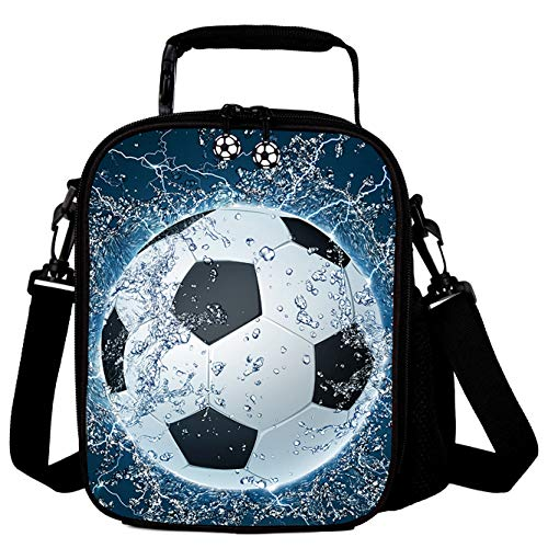 THOME Kids 3D Football Printed Lunch Bags Reusable Cooler Warm Tote Lunch Box with Drink Bottle Holder Children Portable Shoulder Strap Thermal Picnic Bags for Boys Girls Blue