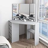 TITISKIN Corner Vanity Makeup Desk Dressing Table with Tri-Folding Mirror and 5 Drawers Wooden Corner Makeup Vanity Table for Grils, Grey