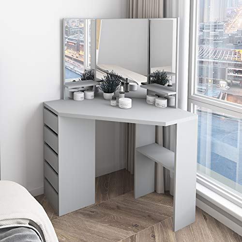 Farelves Corner Dressing Table Grey with 3 Mirrors and 5 Drawers Vanity Table Makeup Table Bedroom Dressing Table Girls
