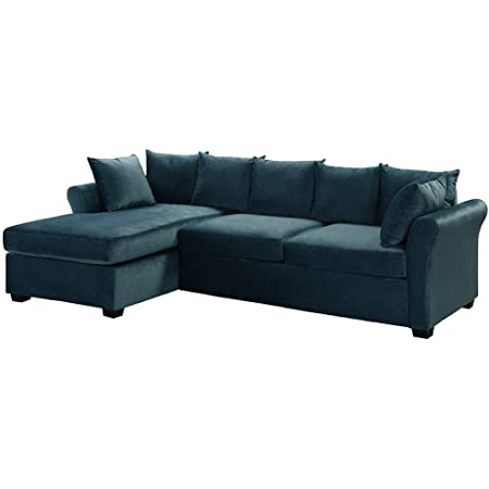 Casa Andrea Milano llc Modern Large Velvet Sectional Sofa, L-Shape Couch with Extra Wide Chaise Lounge, Blue