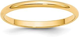 Bonyak Jewelry 18k Yellow Gold 2 mm Half Round Band Size 10