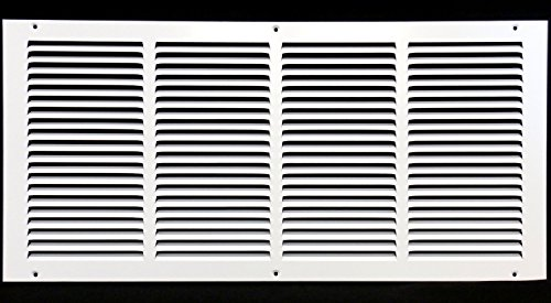 24'w X 12'h Steel Return Air Grilles - Sidewall and Ceiling - HVAC Duct Cover - White [Outer Dimensions: 25.75'w X 13.75'h]