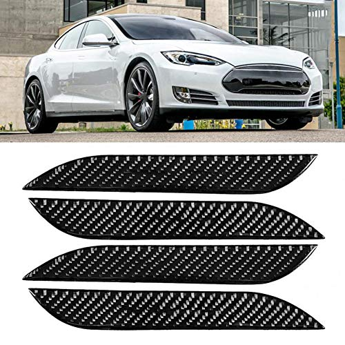 OPIUYS Außentürgriffabdeckung Auto-Styling Auto Kohlefasermuster Außentürgriffabdeckung Aufkleberleiste, für Tesla Model S 2014-2018