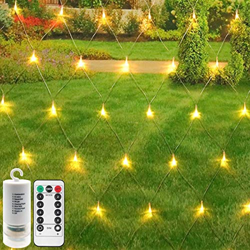 CCILAND [Remote,Timer] Backyard Bedroom LED Net Lights,Battery Powered Fairy Lights String Outdoor Waterproof,Dimmable,8 Modes,Ceiling Wall House Garden Patio Tree Decor(3m x 2m 200 LEDs,Warm White)