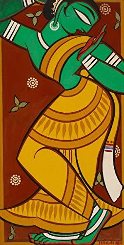 Berkin Arts Jamini Roy Giclee Canvas Print Paintings Poster Reproduction(Painting of Dancing Gopi)