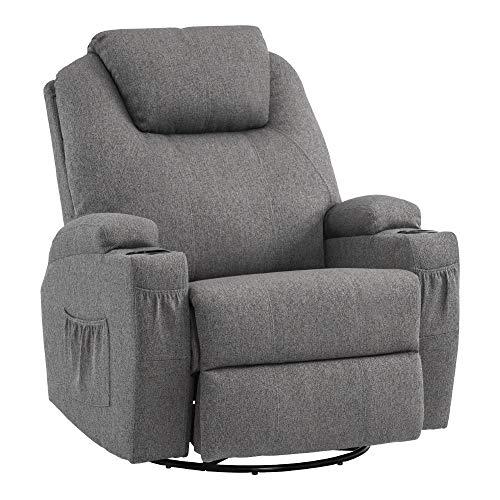 MCombo Massagesessel Fernsehsessel Relaxsessel mit Heizung Dreh 360° Schaukel Stoffbezug Grau