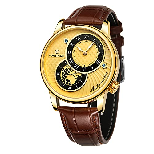 Relojes para hombre, relojes de pulsera para hombres reloj mecánico luminoso de acero inoxidable 3atm 30 metros reloj de pulsera con correa de cuero, negocio casual de negocios para hombre,A03