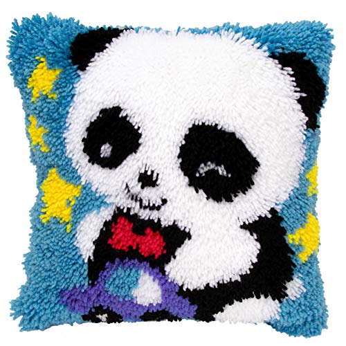 Beyond Your Thoughts DIY Latch Hook Kits Cute Blue Panda Rug Pattern Printed 16X16 inch, Crochet Needlework Crafts for Kids and Adults