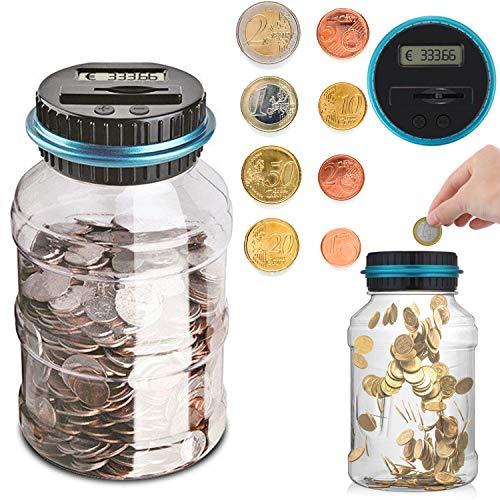 Sunsbell Hucha Contador, Caja de Ahorro de Monedas Euro Dinero Moneda Caja de conteo de Gran Capacidad para Pantalla LCD Caja de Monedas Banco de Ahorro Contenedor para niños (1.5L)