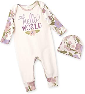 Newborn Baby Girl Clothes Hello World Long Sleeve Floral Romper Overall Bodysuit Jumpsuit + Hat Infant Outfits Set