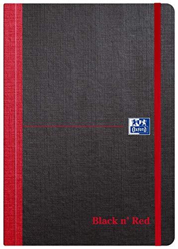 Oxford Black n' Red Notizbuch, gebunden, weicher Einband, liniert, 144 Seiten, Schwarz Weicher A5-Einband. A5
