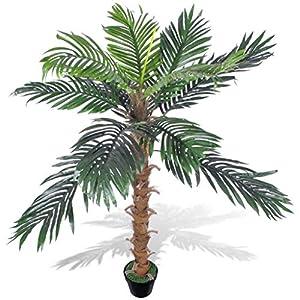 vidaXL 55″ Artificial Plant Coconut Palm Fake Tree Potted Pool Patio Arrangement Decor