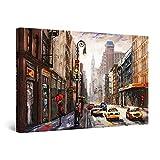 Startonight Cuadro Moderno en Lienzo Pintura Urbana, Calle de Nueva York, Taxi, Para Salon Decoración de la Pared Enmarcada 60 x 90 cm