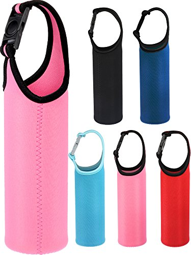 Chengu 5 Pieces Water Bottle Sleeve Neoprene Cover Portable Bottle Holder Strap with Buckle for 500-700 ml Bottle Carriers, 5 Colors