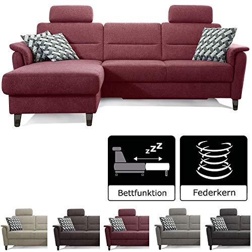 Cavadore Schlafsofa Palera mit Federkern / L-Form Sofa mit Schlaffunktion / 244 x 89 x 164 / Stoff Rot