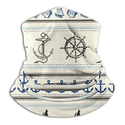 Pengyong Halswärmer / Sturmhaube für den Winter, winddicht, mit nautischem Symbol, Elfenbeinfarben