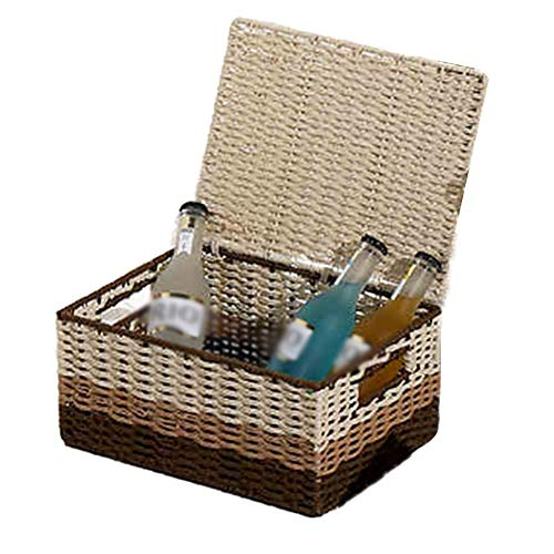 Heding Storage Basket,box Desktop Clothes Toy With Lid Built-in Handle Hand Made Beautiful And Durable High Capacity Grass Vine, 3 Sizes (Color : BEIGEBROWN, Size : 39X26X26CM)