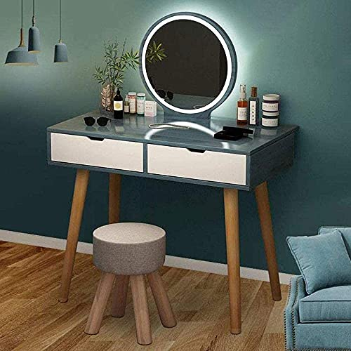 N&O Renovation House Schminktisch Set Schminktisch mit ovalem Spiegel und Hocker Schlafzimmer Holz Schminktisch mit 1 2 3Schubladen Weißgrün Weiß_90x40x73cm