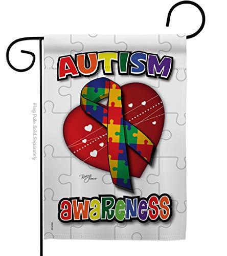 "Breeze Decor G165085 Autism Awareness Inspirational Support Decorative Vertical Garden Flag, 13"" X 18.5"", Multi-Color"