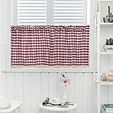 Nicole Knupfer 2 visillos con trabillas, voile, visillos de estilo vintage, café, cortina de encaje, cortina corta, transparente, para cocina, color rojo, 130 x 41 cm