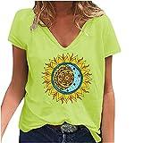 Camiseta para mujer con estampado de sol y luna, parte superior de verano, cuello en V, manga corta, básica, para mujeres, informal, de moda, para adolescentes, niñas, túnica, talla grande amarillo XL