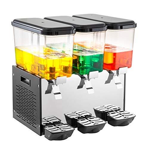 VEVOR 3*18L Distributore di Bevande Commerciale TriploSerbatoio Distributore di Bevande Fredde Distributore di Succhi di Frutta in Acciaio Inossidabile Distributore di Bevande per tè e Ghiaccio Raff
