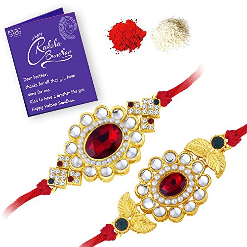 Sukkhi Elegant Gold Plated Designer Floral Rakhi Combo (Set of 2) with Roli Chawal and Raksha Bandhan Greeting Card for Men (CB73444)