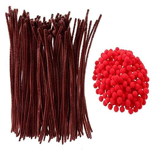 NACTECH 200 Bolas Pompon Rojo y 100 Chenilla Manualidades Tallos de Chenilla...