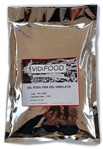 Sal Rosa del Himalaya - 1 kg - Rica en nutrientes y minerales - 100% natural y sin toxinas - Alternativa baja en sodio perfecta para la sal de mesa común - Sabor increíble - Apta para veganos