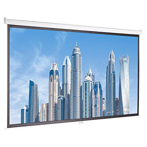 AmazonBasics 100 inch (254 cm) Manual Pull Down Projector Screen 4K / 8K Ultra HDR 3D Ready (16:9)