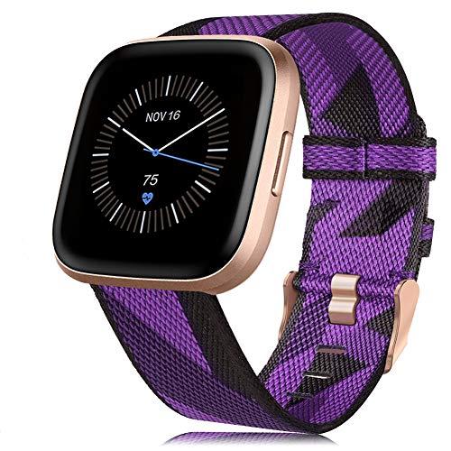 RIOROO Compatible para Fitbit Versa 2 / Versa/Versa Lite Correa de Tejida para Mujeres Hombres,Banda de Tela Respirable Ajustable de Nylon Reemplazo Pulsera Accesorios,Púrpura