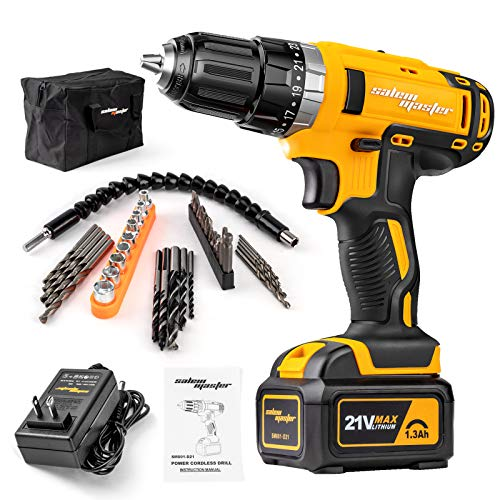 SALEM MASTER Cordless Drill Driver - 21V Max Impact Drill with 3/8'' Auto Chuck 23+1 Clutch 2-Speed Lithium-Ion Battery Built-in LED Compact Drill for Home Improvement & DIY Project (Yellow)