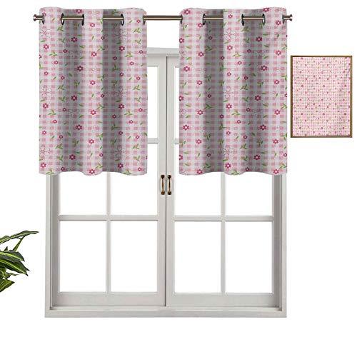 Hiiiman Cenefa opaca con ojales de alta calidad, diseño de flores en tonos pastel sobre fondo a rayas, juego de 2, paneles opacos decorativos para el hogar de 137 x 61 cm para dormitorio