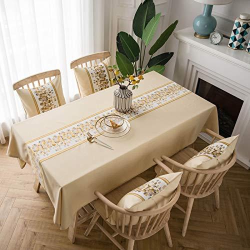 Epinki Mantel Sencillo con Piedra Beige Mantel Poliéster para Cocina Dinning Party Tamaño 135x220CM