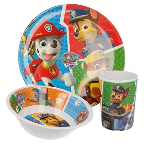 Paw-Patrol Chase Marshall Rubble - Juego de platos y platos (3 piezas)