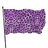 Garten Banner,Hanging Flag Dekor,Fahne,Flagge,Sexy Lila Leopardenmuster Polyester Flagge - Lebendige Farbe Und Uv-Lichtechtheit Für Den Außen-/Innenbereich 150X90 cm