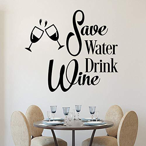 JXAA Sparen Sie Wasser Trinken Wein Wandtattoo lustige Küche Weingläser Wandaufkleber abnehmbare Vinyl Wall Art Zitat Poster Wandaufkleber 84x74cm