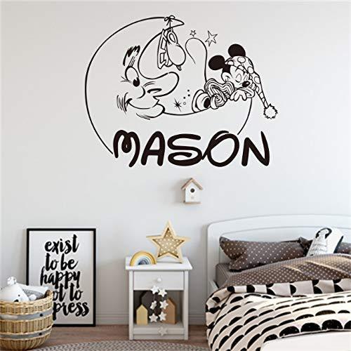 Bingcheng Mickey Vinyl muursticker voor kinderkamer, gepersonaliseerde naam, afneembaar trekker, babykamer, decoratie, personaliseerbaar, 58 x 46 cm